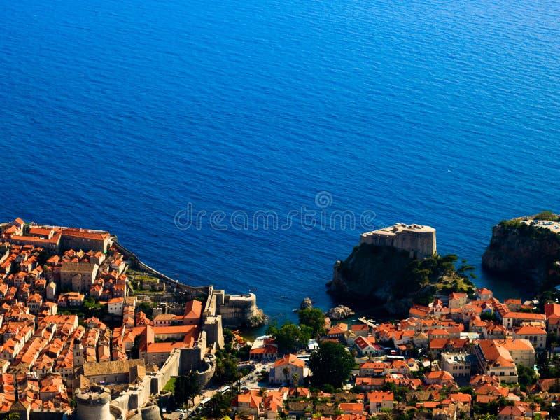 杜布罗夫尼克和亚得里亚海老镇的看法  库存图片