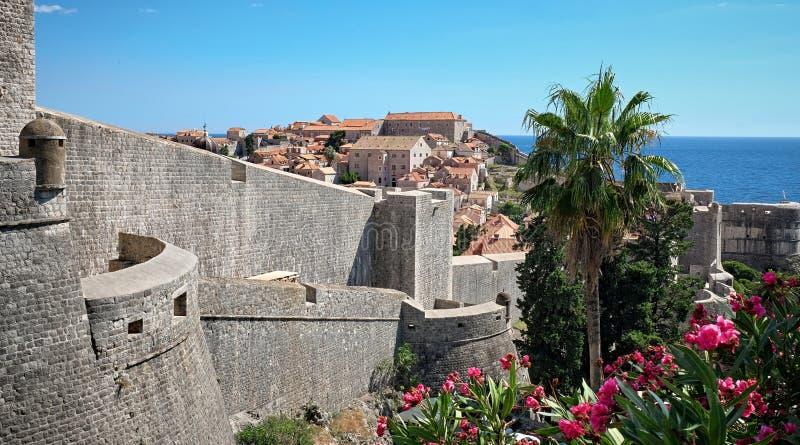 杜布罗夫尼克市墙壁,克罗地亚 库存照片