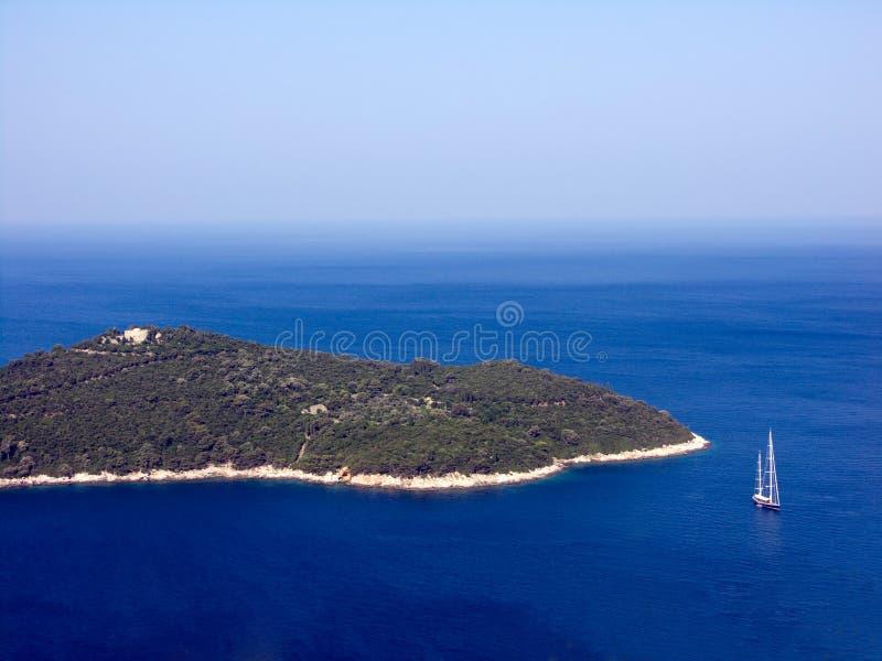 杜布罗夫尼克市海岛海运天空游艇 库存图片