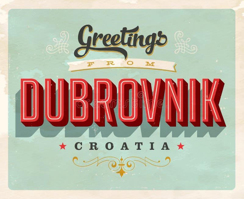 从杜布罗夫尼克,克罗地亚的葡萄酒问候假期卡片 皇族释放例证