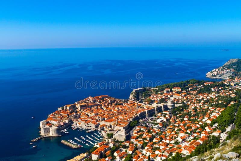 杜布罗夫尼克,克罗地亚,顶视图witn海 库存图片