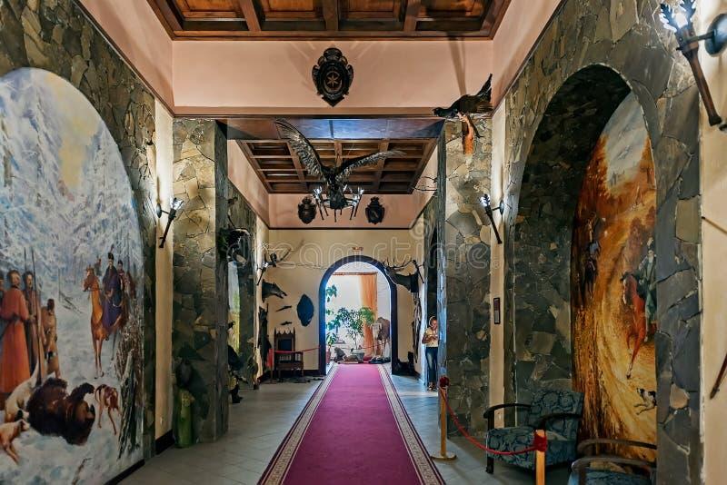 杜布诺城堡的狩猎小屋内部在杜布诺在乌克兰 免版税库存图片