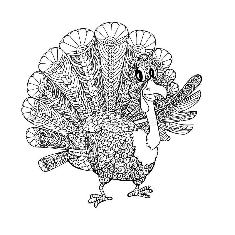 杜德火鸡 成人、儿童、网页、印刷艺术设计元素的卡通单色着色页 皇族释放例证