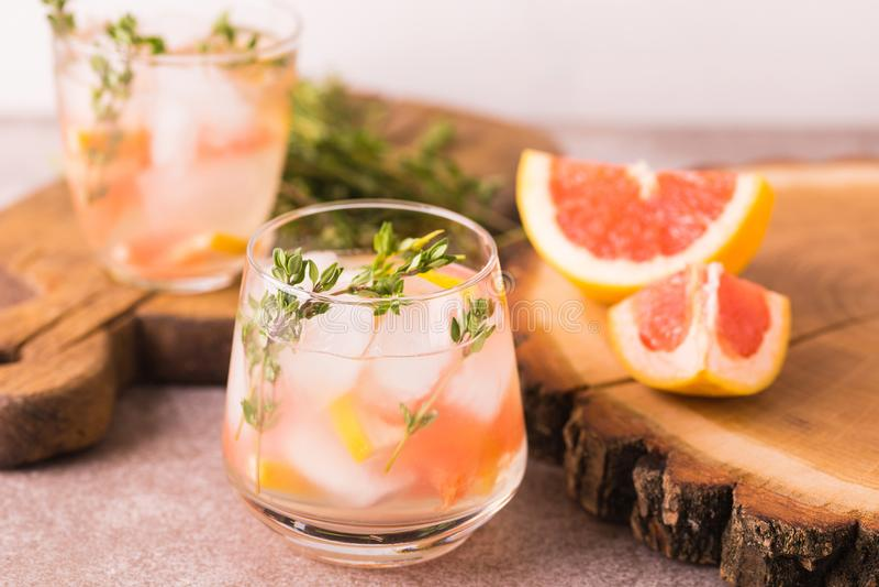 杜松子酒带苦味柠檬用麝香草和葡萄柚 果子柠檬水 库存照片