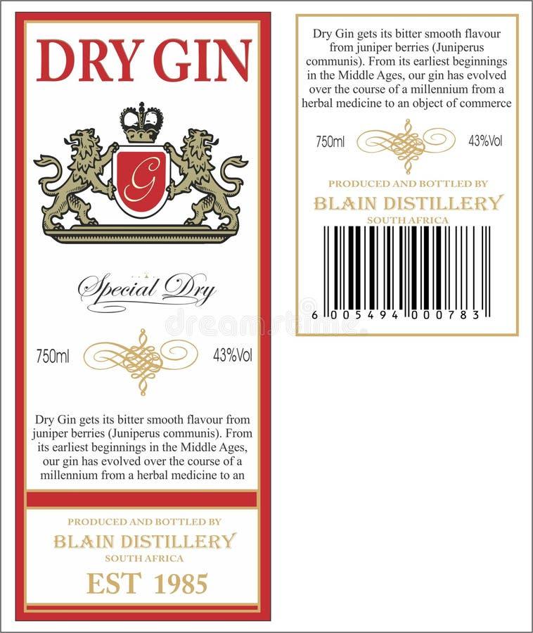 杜松子酒标签 皇族释放例证