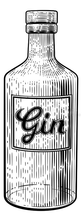 杜松子酒玻璃瓶铭刻样式的葡萄酒木刻 皇族释放例证
