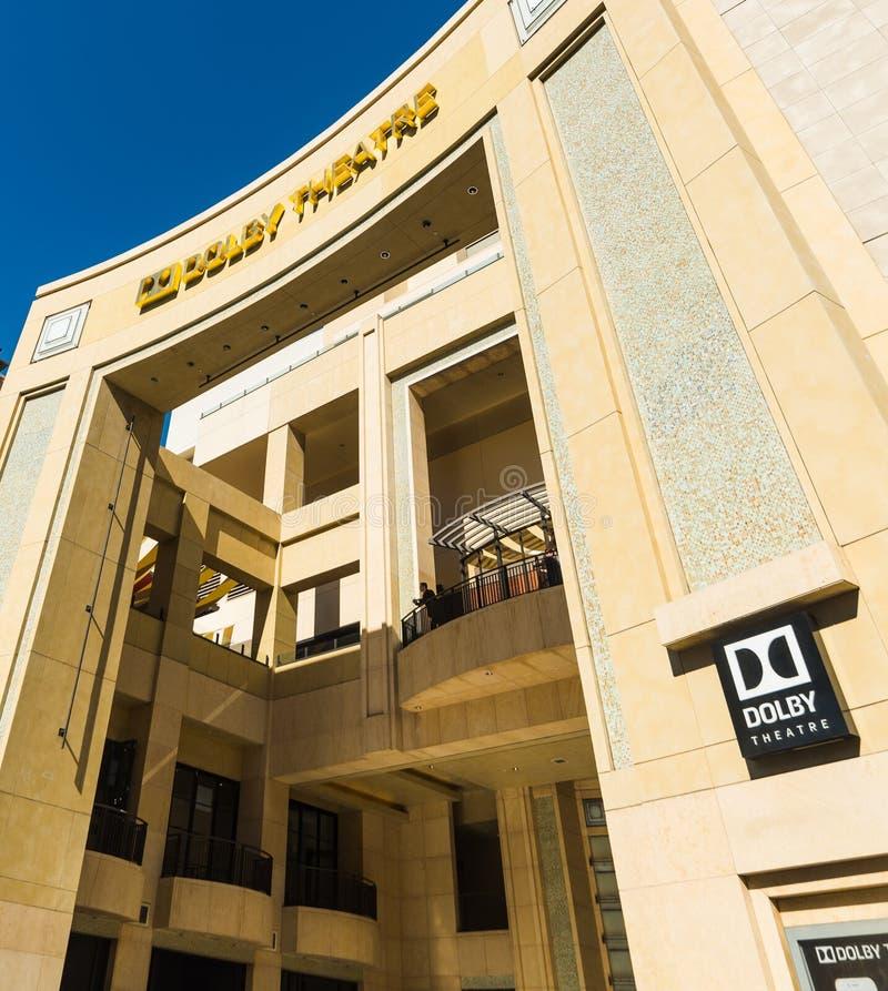 杜比剧院和硬石餐厅在好莱坞大道 免版税库存图片