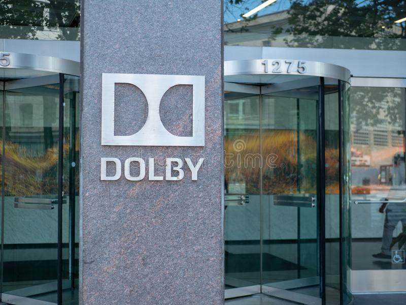 杜比数字式实验室总部入口和大厅 库存照片