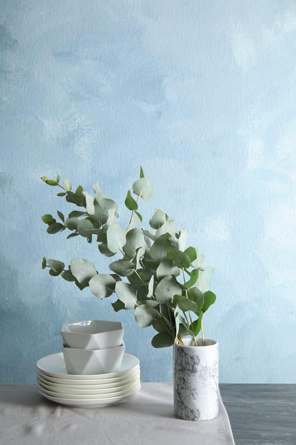 束与新鲜的叶子的玉树分支 免版税库存照片