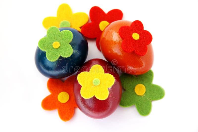 束五颜六色的复活节彩蛋 免版税库存照片