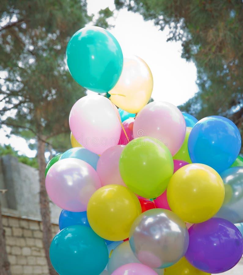 束五颜六色的气球在绿色背景中 室外党的许多五颜六色的气球 飞行Colorfull的气球  免版税图库摄影