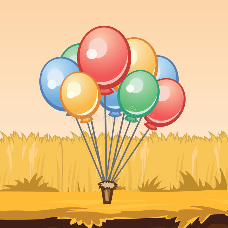 束五颜六色的气球,例证 库存图片