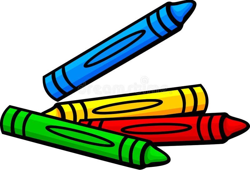 束五颜六色的蜡笔蜡 皇族释放例证