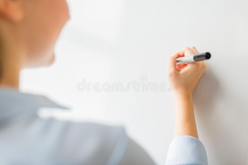 结束妇女文字某事在白板 库存图片