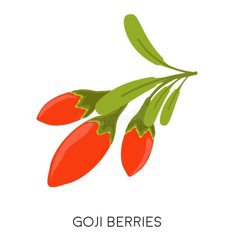 束成熟红色在白色背景隔绝的Goji莓果平的象 Superfood wolfberry象 健康的果子 皇族释放例证
