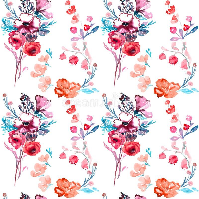 束桃红色玫瑰花、野玫瑰果野生罗斯,会开蓝色钟形花的草和莓果 皇族释放例证