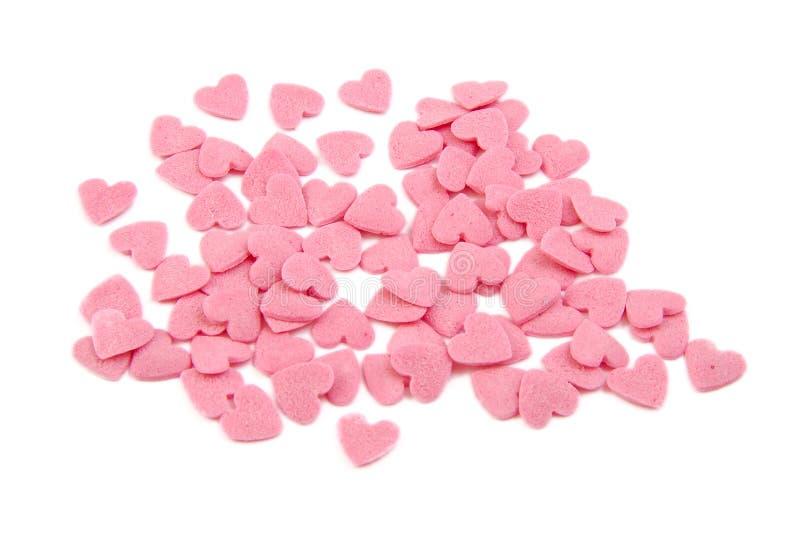 束糖心脏 结块装饰 华伦泰 库存照片