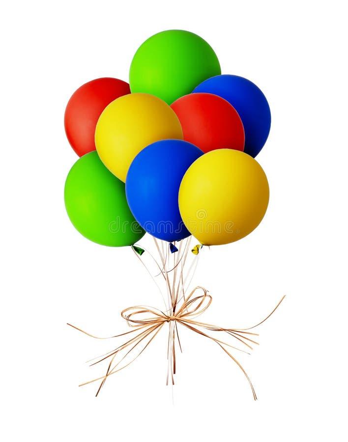 束红色,蓝色,绿色和黄色气球 库存图片