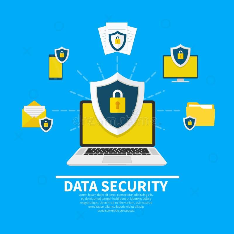 束缚被包裹的概念常规复制数据设计设备hdd被锁定的挂锁权利被巩固的安全空间 创造性的平的象设置了,象网横幅的,网站, infographics被设置的图表元素 向量例证