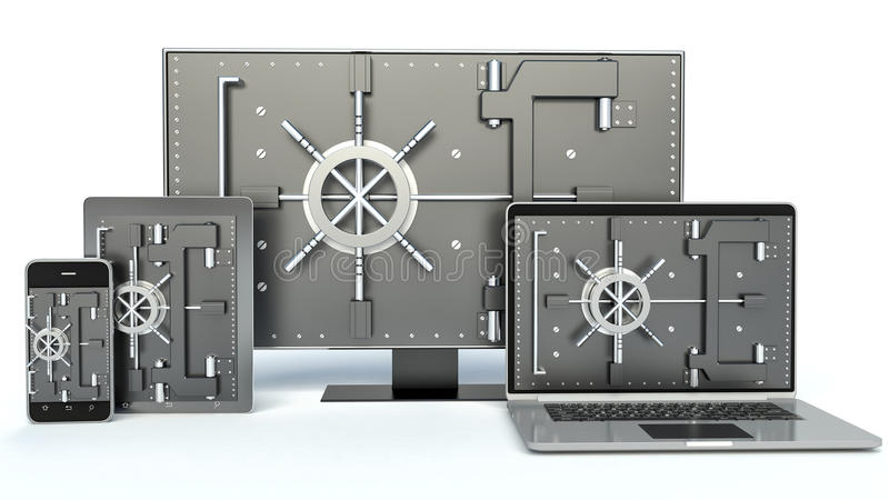 束缚被包裹的概念常规复制数据设计设备hdd被锁定的挂锁权利被巩固的安全空间 膝上型计算机,智能手机,电视 库存例证