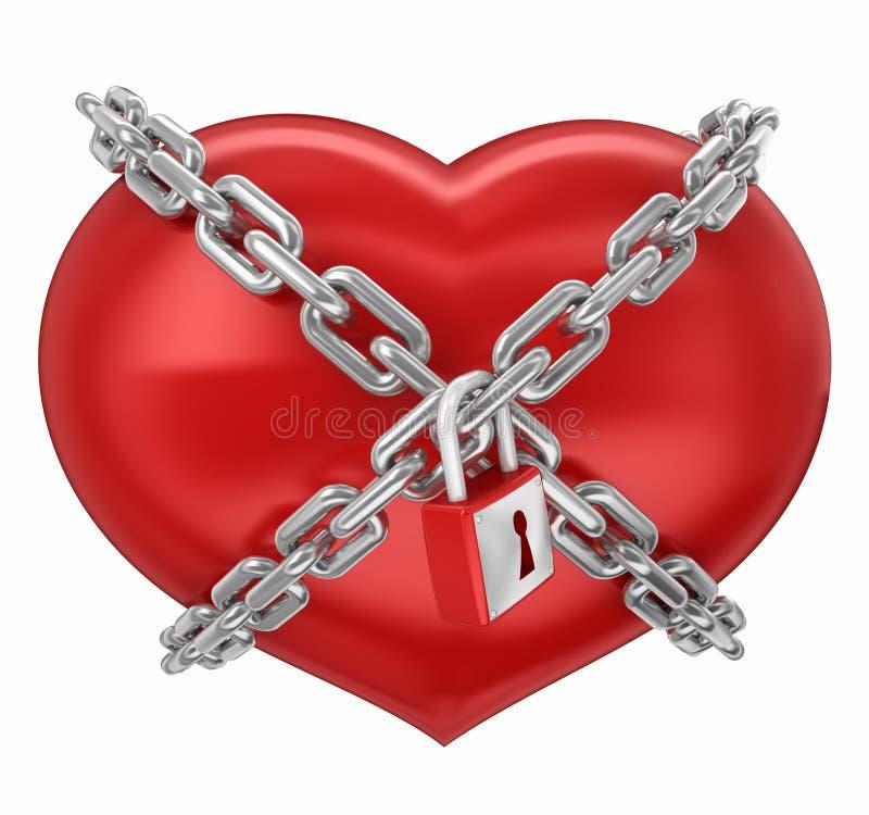 束缚重点被锁定的爱形状 向量例证