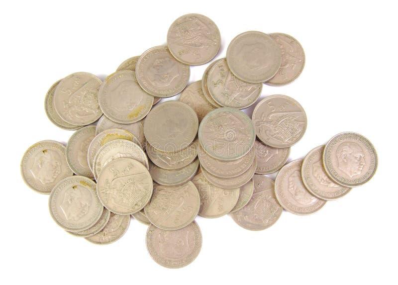 束老西班牙硬币5比塞塔显示 库存图片