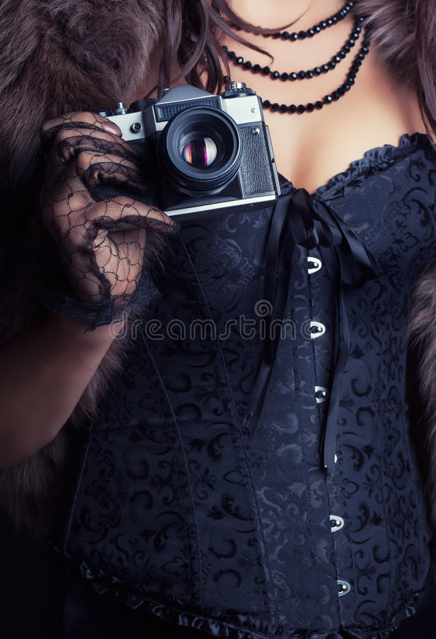 束腰佩带的妇女 库存图片