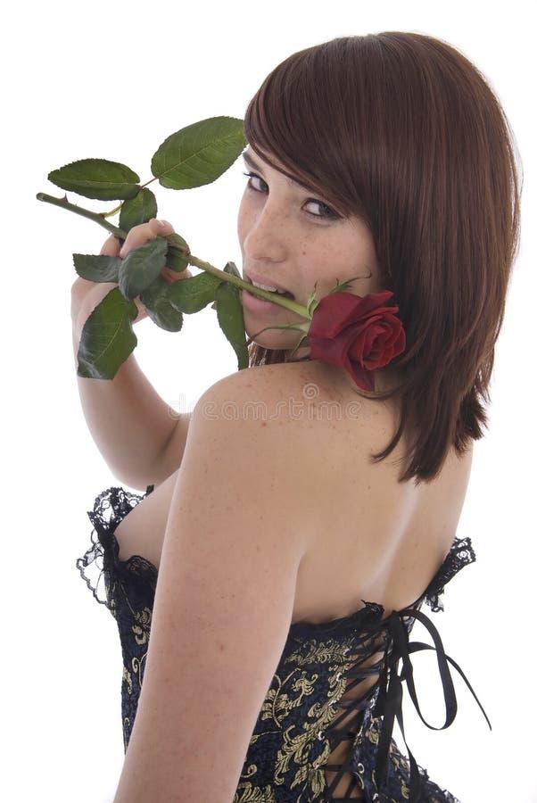 束腰玫瑰性感的妇女 免版税库存照片