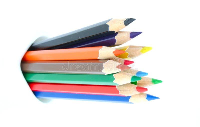束色的铅笔 免版税库存图片