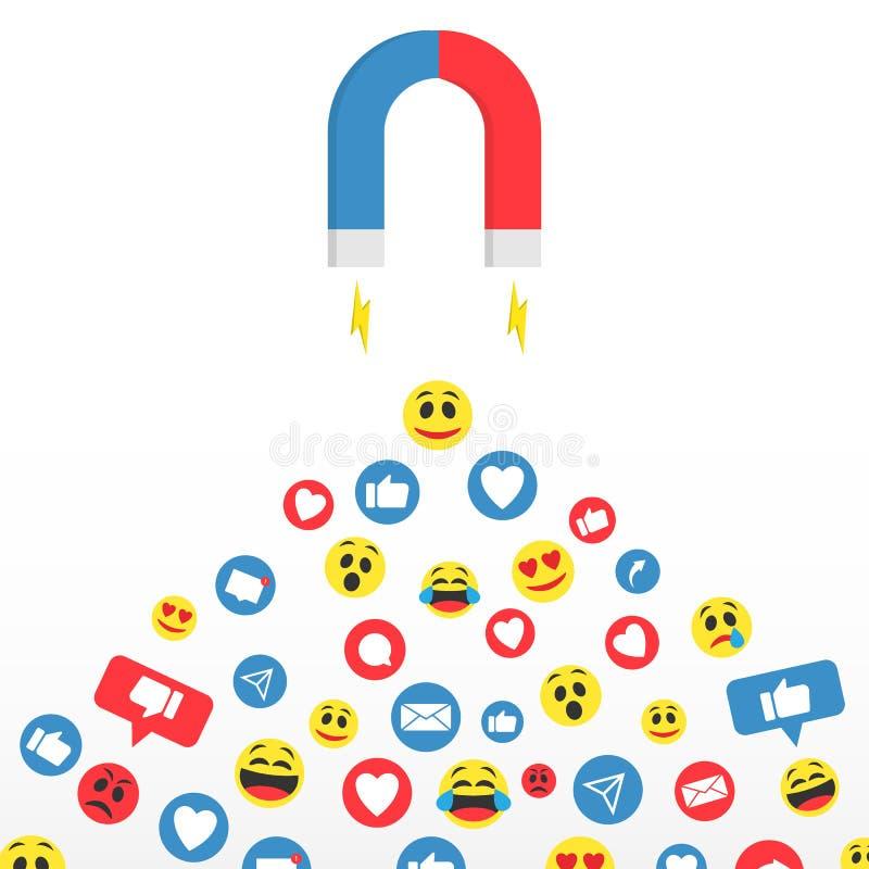 束起通信有概念的交谈媒体人社交 允诺的公众、顾客和观众 追随者社会媒介网上行销的磁性保留 向量例证