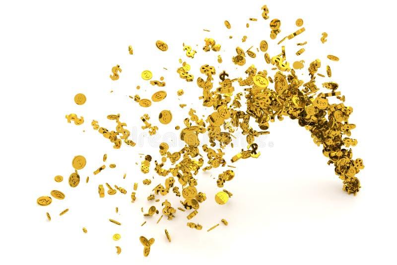 束金钱,金子、美元的符号或者硬币从地板、现代样式背景或者纹理流动 皇族释放例证