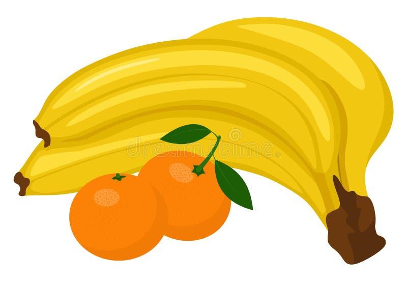 束香蕉和蜜桔或者柑桔与在白色背景隔绝的绿色叶子 r 库存照片