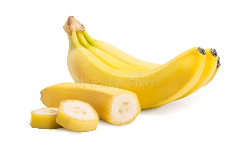 束香蕉结果实和被隔绝的裁减香蕉 免版税库存图片