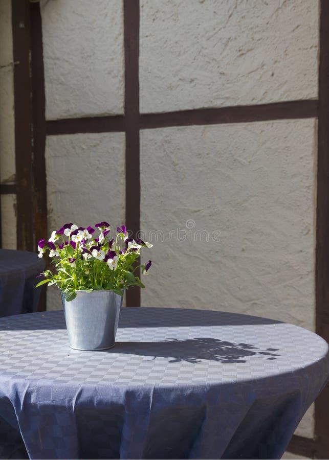 束蝴蝶花(三色的中提琴)在街道café桌上。 免版税库存图片