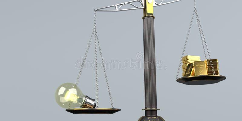 杠杆式天平想法金子 皇族释放例证