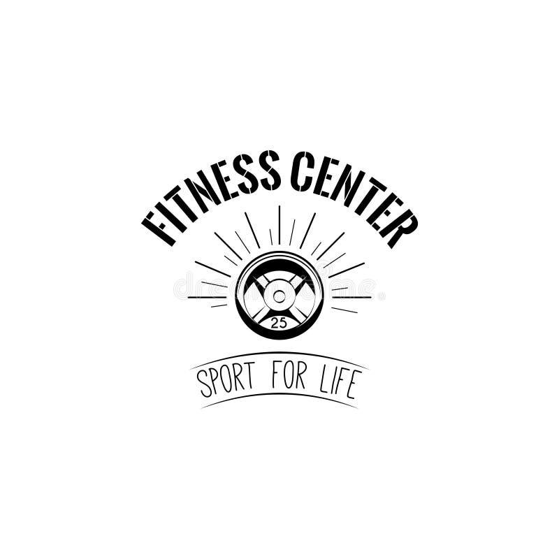 杠铃盘重量 健身中心商标徽章标签 体育为生活 向量 库存例证