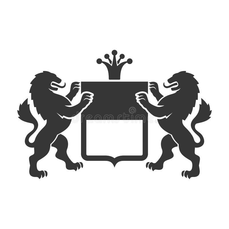 8条另外的胳膊外套eps文件格式以图例解释者 与盾和冠的纹章学狮子 向量 库存例证