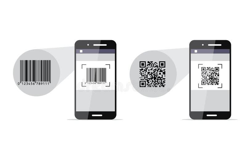 条形码和QR代码扫描电话 也corel凹道例证向量 库存例证