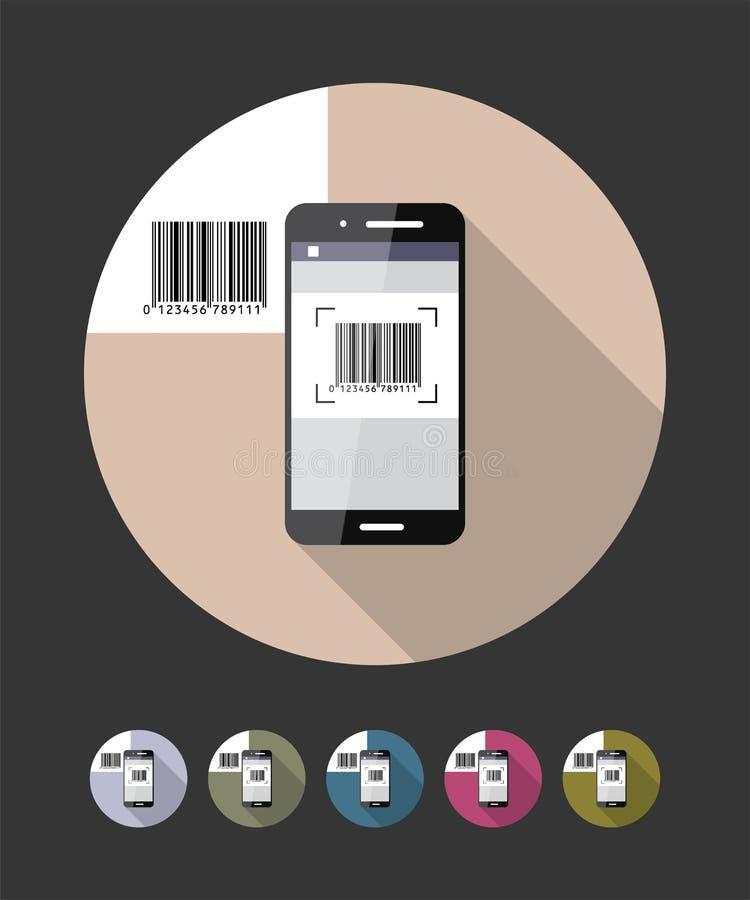 条形码扫描电话 传染媒介平的样式例证 皇族释放例证