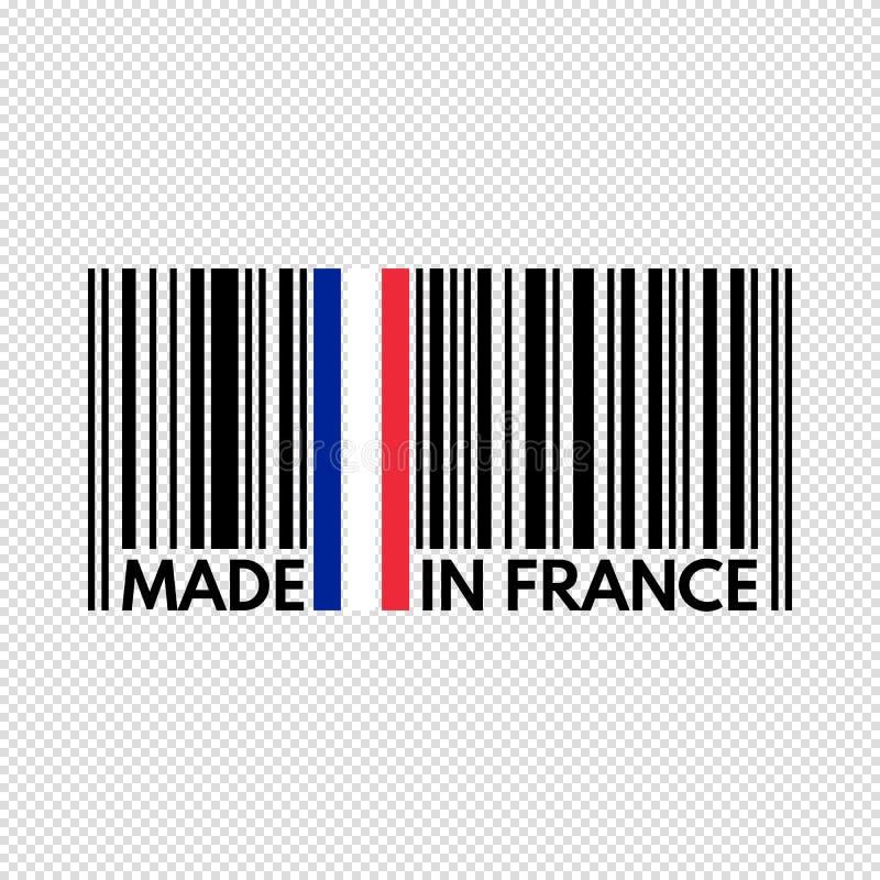 条形码法国制造,在透明的传染媒介例证 向量例证