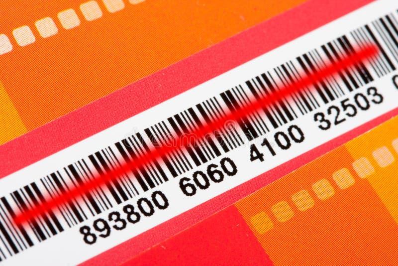 条形码激光红色扫描程序 库存照片