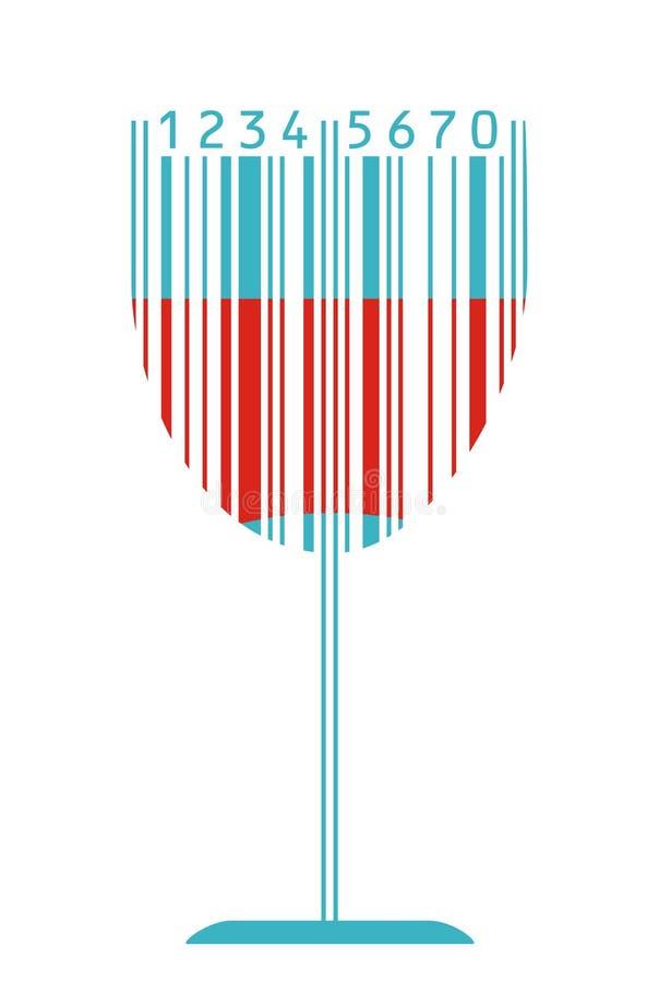 条形码玻璃酒 皇族释放例证