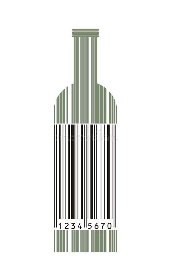 条形码瓶酒 向量例证