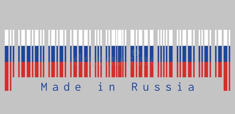 条形码设置了俄罗斯旗子,三个相等的水平的领域的颜色的白色蓝色和红色与文本:俄国制造 库存例证