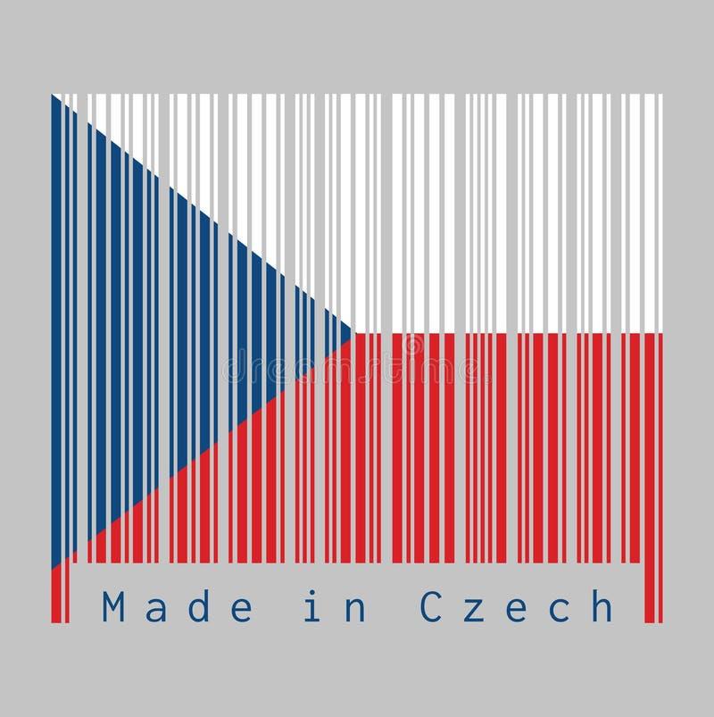 条形码设置了捷克旗子,两相等水平的颜色白色和红色与在卷扬机边的一个蓝色三角 库存例证