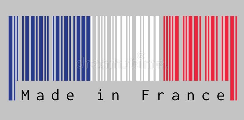 条形码设置了法国旗子的颜色,在灰色背景的蓝色白色和红颜色与文本:法国制造 库存例证