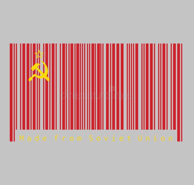 条形码设置了苏联旗子的颜色、一面简单的红旗与金黄锤子和镰刀和一个金毗邻的红色星在它 皇族释放例证