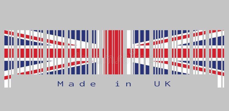 条形码设置了英国旗子、英国国旗和文本的颜色:制造在英国 皇族释放例证