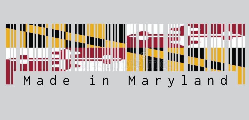 条形码设置了马里兰旗子,乔治卡尔弗特,第1位男爵巴尔的摩纹章学横幅的颜色  文本:做在马里兰 皇族释放例证