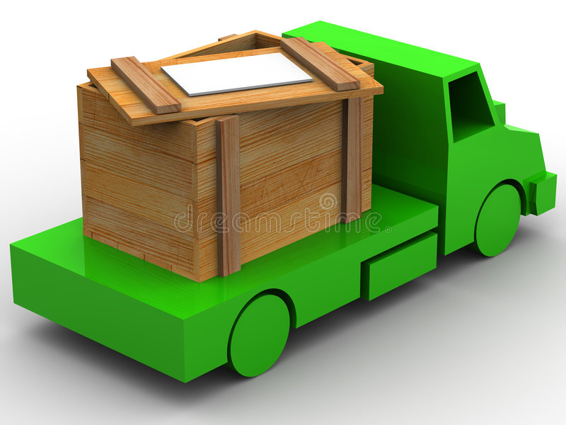 条板箱拖车 向量例证